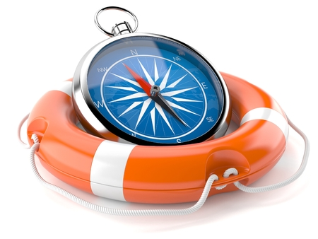 Compass with life buoy isolated on white background