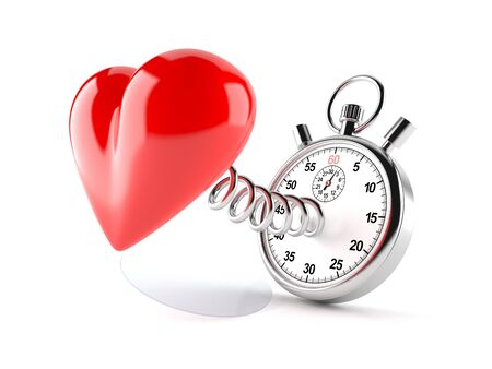Heart with stopwatch isolated on white background