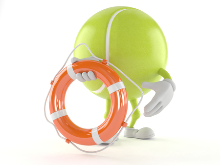Tennis ball character holding life buoy isolated on white background Stock Photo