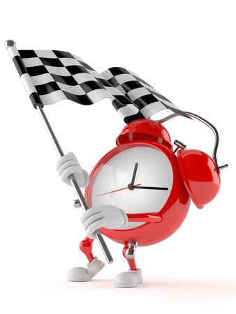 Alarm clock character with racing flag isolated on white background Stock Photo
