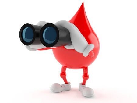 Blood drop character looking through binoculars isolated on white background