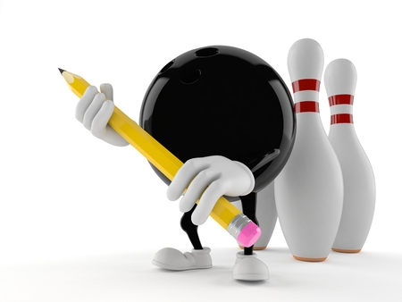 Bowling character holding pencil isolated on white background