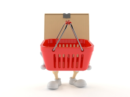 Package character holding shopping basket isolated on white background Stock Photo