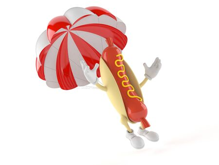 Hot dog character with parachute isolated on white background