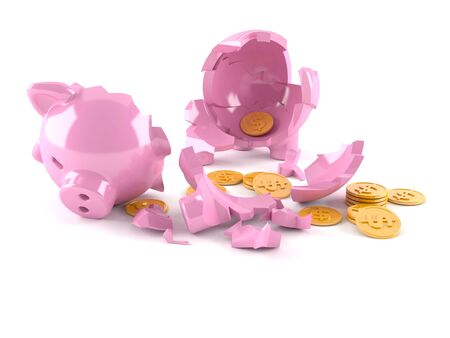 Broken piggy bank with coins isolated on white background
