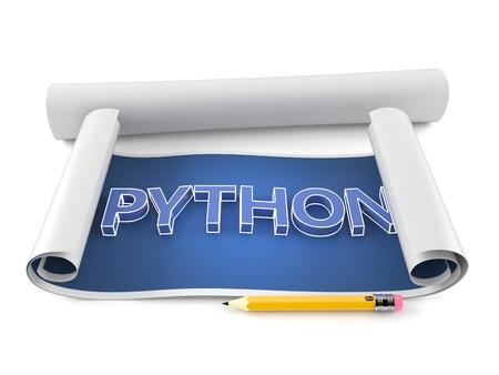 Python text on blueprint isolated on white background