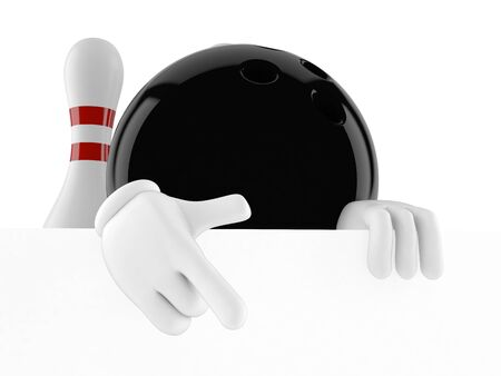 Bowling character isolated on white background Stock Photo