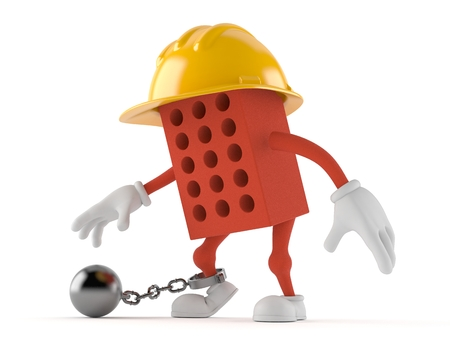 Brick character with prison ball isolated on white background