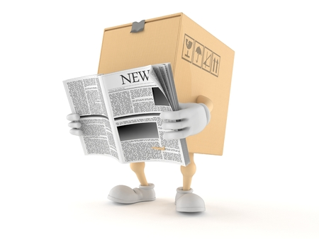 Package character reading newspaper on white background