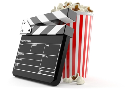 Popcorn with clapboard isolated on white background