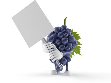 Grapes character with signboard isolated on white background