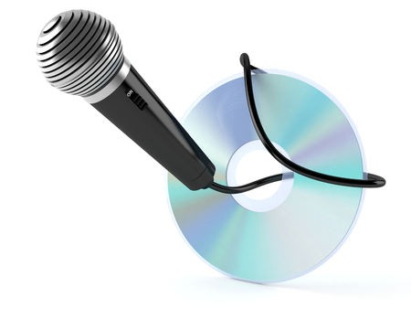 CD disc with microphone isolated on white background Stock Photo