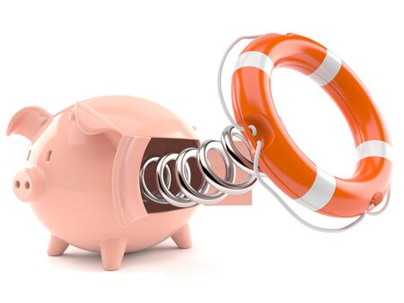 Piggy bank with life buoy isolated on white background