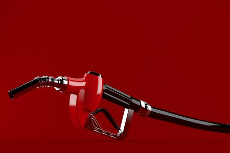 Gasoline nozzle isolated on red background