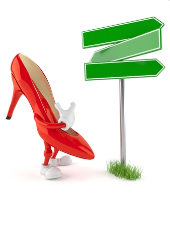 High heels character with blank signpost isolated on white background Stock Photo