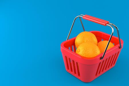 Orange inside shopping basket isolated on blue background