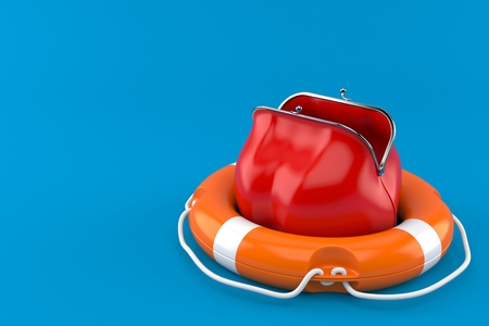 Purse with life buoy isolated on blue background