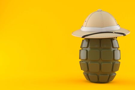 Pith helmet with grenade isolated on orange background