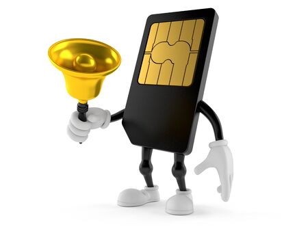 SIM card character ringing a handbell isolated on white background