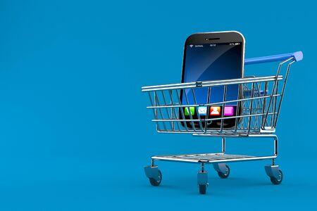 Smart phone inside shopping cart isolated on blue background