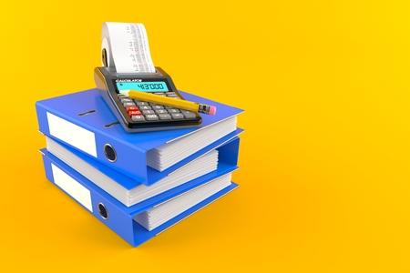 Ring binders with calculator isolated on orange background