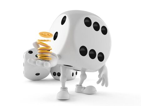 Dice character with coins isolated on white background Stock Photo