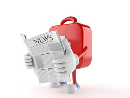 First aid kit character reading a newspaper on white background
