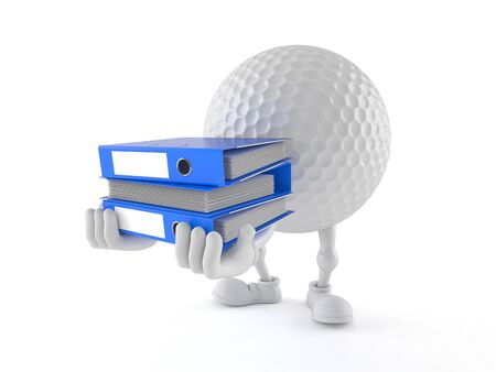 Golf ball character carrying ring binders isolated on white background Фото со стока