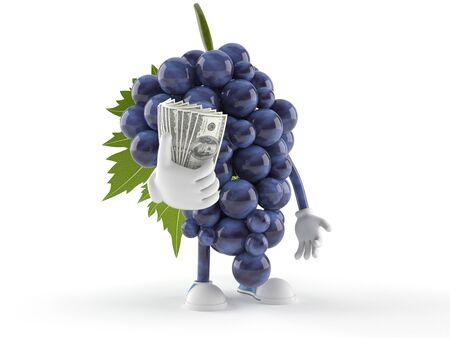 Druivenkarakter met geld op witte achtergrond wordt geïsoleerd die
