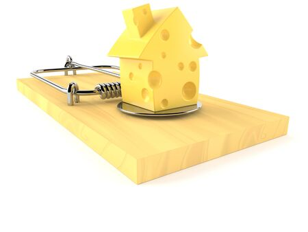 Mouse trap with cheese in house shape isolated on white background Stock Photo