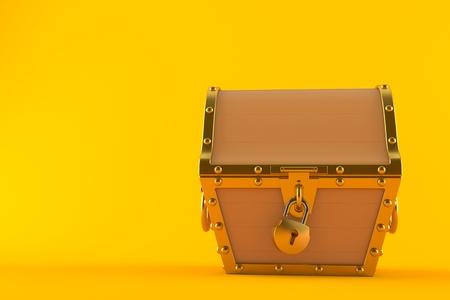 Treasure chest isolated on orange background Standard-Bild