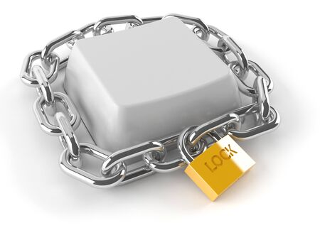 Keyboard key with chain and padlock isolated on white background