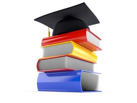 Boeken met graduatiehoed op witte achtergrond wordt geïsoleerd die