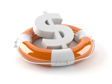 Dollar currency symbol with life buoy isolated on white background Stock Photo
