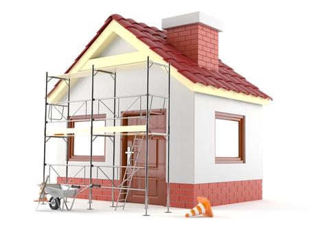 흰색 배경에 고립 된 집 리노베이션 개념