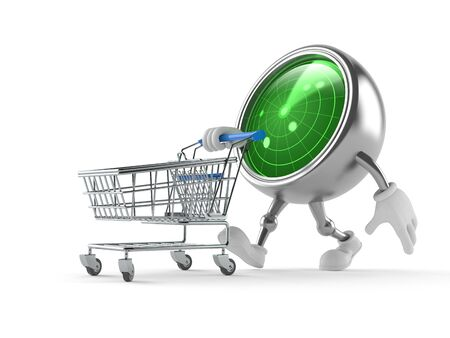 Radar character with shopping cart isolated on white background