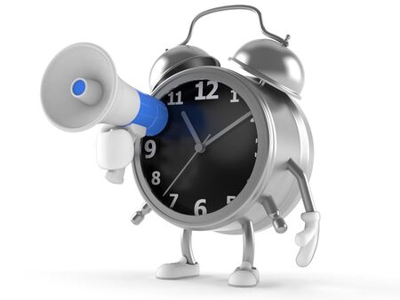 Alarm clock character with megaphone isolated on white background