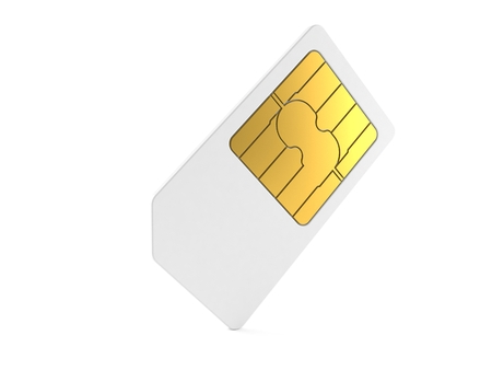 SIM card isolated on white background Banque d'images