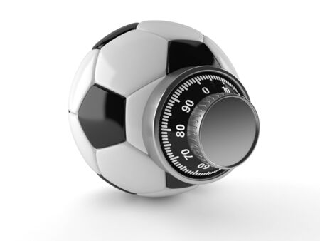 Soccer ball with combination lock isolated on white background Imagens
