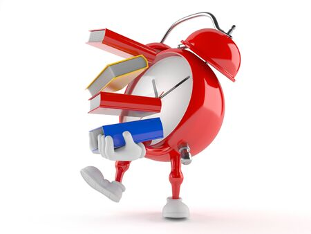 Alarm clock character carrying books isolated on white background Stock Photo
