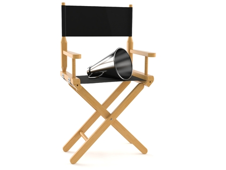 Movie director chair with megaphone isolated on white background