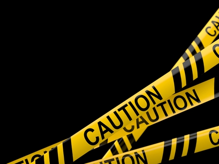 Cordon tape with caution text isolated on white background