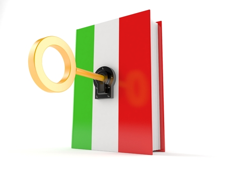 Italian book with key isolated on white background