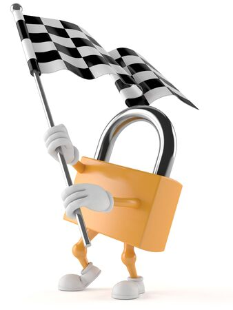 Padlock character with racing flag isolated on white background Stock Photo
