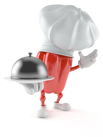 Paprika character holding catering dome isolated on white background Stock Photo