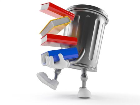 Trash can character carrying books isolated on white background