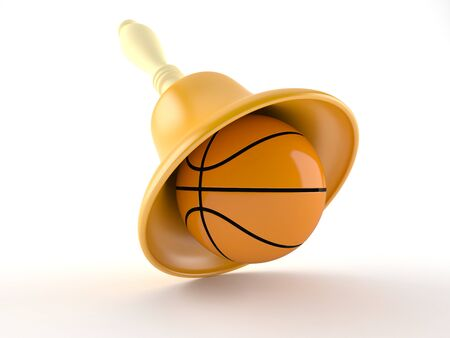 Handbell with basketball isolated on white background