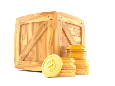 Crate with coins isolated on white background