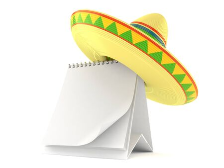 Sombrero with blank calendar isolated on white background