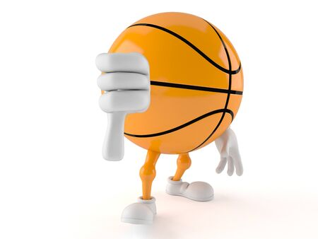 Basketball character with thumb down isolated on white background Stock Photo